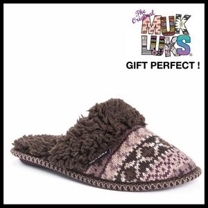 MUK LUKS FURRY SLIDES LINED MOCCASIN SLIPPERS A2C